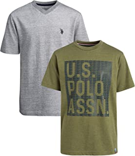 U.S. Polo Assn. Boys' T-Shirt - 2 Pack Short Sleeve Fashion Solid and Graphic Tee (Big Boys), Grey/Green Heather, 14-16