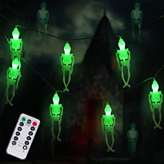 DAYLIGHTIR Ghost Skeleton Lights Halloween String Lights, 2PACK 15LED Remote-Control Baterry-Powered Perfect Halloween Dec...