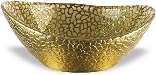 Badash - Hand Decorated Snakeskin Gold Oval 6 inch Glass Bowl
