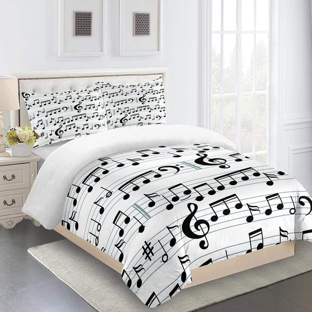 ZTMLJT Duvet Cover New mail order Full Weekly update 80x90 Inch Pattern Pr Music Notes Staff