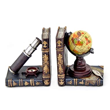 Bellaa 26263 Telescope and Globe Bookends Pirate Old World Nautical Books Holder