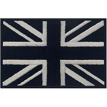 Blanc noir Tactique Britanique Union Jack Drapeau de lAngleterre Grande Bretagne Embl/ème national Brod/é /à Repasser ou /à Coudre Patch