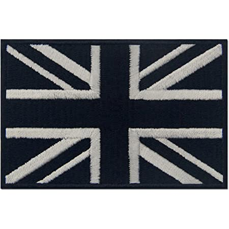 Tactical British Union Jack Flag Patch Embroidered Applique UK Great Britain Iron On Sew On Emblem - White & Black