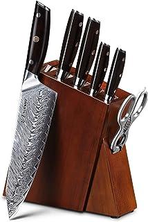 Ensembles de couteaux de cuisine 7 pcs pro Damas Couteaux en acier Meilleur Chef Couteau sertie d'un excellent bloc de jeu...