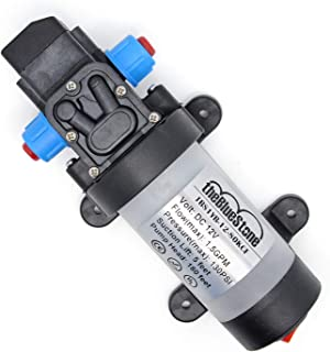 DC12V 130PSI Self-priming Demand Diaphragm Water Pump 1.5 GPM DC 2.1mmx5.5mm Jack with On/off Switch & Cooling Fan for RV Camper Boat Marine High Pressure Car Washing Cleaning Sprayer Sprinkler System