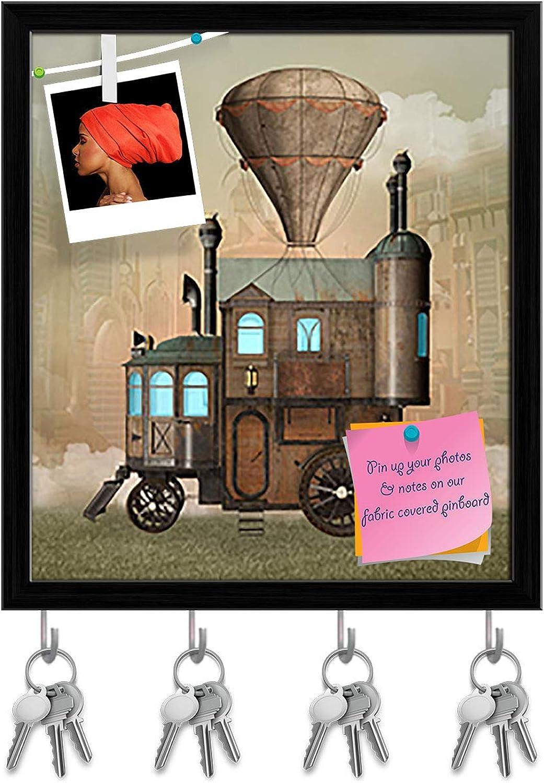 Artzfolio Surreal House Key Holder Hooks   Notice Pin Board   Black Frame 16 X 18.1Inch