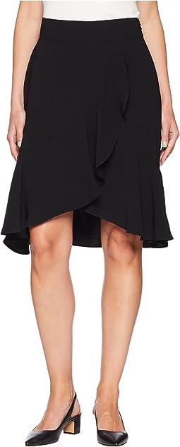 Crepe Asymmetrical Ruffle Skirt