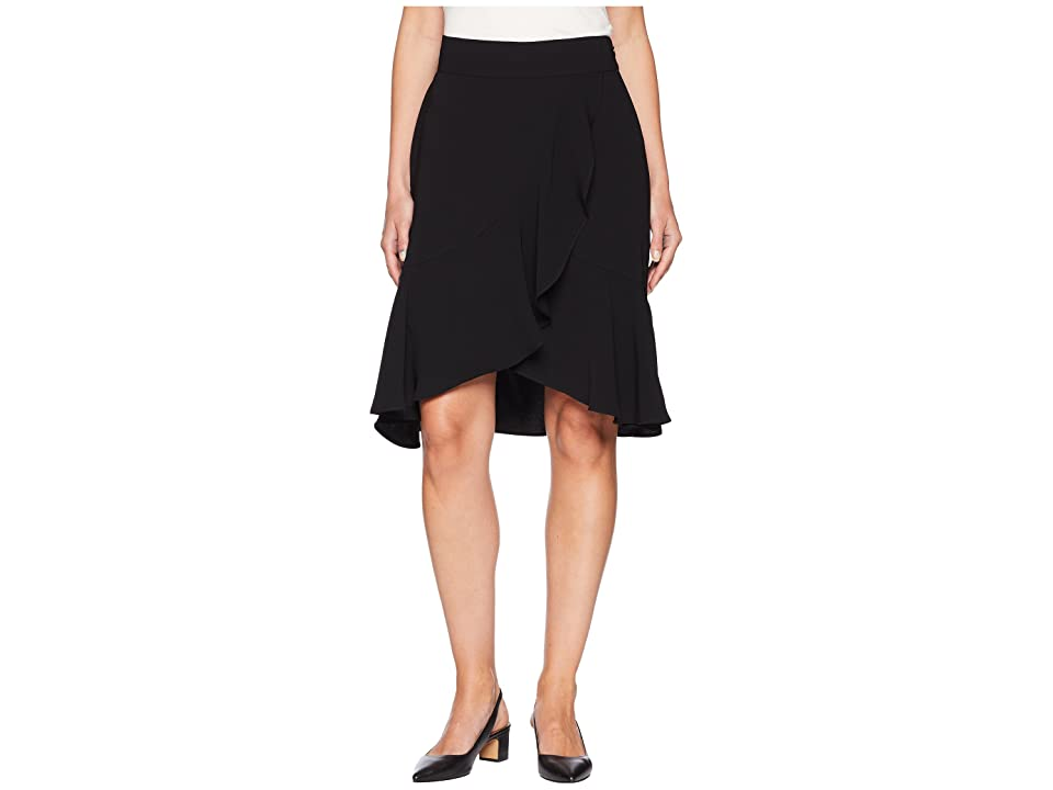 Nine West Crepe Asymmetrical Ruffle Skirt (Black) Women