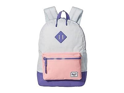 Herschel Supply Co. Kids Heritage Backpack (Big Kids) (Ballad Blue Pastel Crosshatch/Candy Pink/Dusted Peri) Backpack Bags