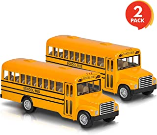 ArtCreativity 5 Pull Back School Bus Toy (Set of 2) | Includes 2, 5 Classic School Bus | Diecast Bus Playset with Pull Bac...