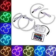 DONGMAO LED Angel Eyes Multi-Color RGB 2X131mm,2X146mm Lámpara de xenón Intermitente Colorido por Control Remoto para B/MW E36 E38 E39 E46