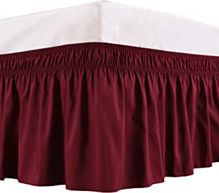 Biscaynebay Wrap Around Bed Skirts Elastic Dust Ruffles, Easy Fit Wrinkle and Fade Resistant Solid Color Silky Luxurious Textured Fabric, Burgundy Queen 15 Inches Drop