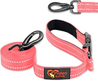 Puppy Love Reflective Dog Leash for Medium and Large Dogs 5ft - Premium Clasp Soft Nylon with Metal D-Ring & New Easy Conn...