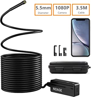 Wireless Endoscope, NIDAGE 5.5mm 2MP WiFi Borescope 1080P HD Semi-Rigid Snake Camera for iPhone Android, Tablet, Motor Engine Sewer Pipe Vehicle Inspection Camera with Carry Box(11.5FT)