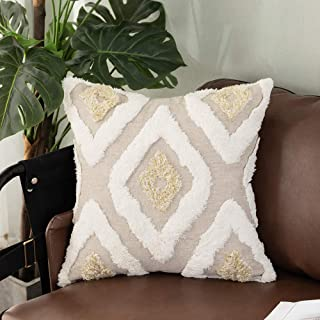 Tiffasea Tribal Lumbar Throw Pillow Cover 20x20, Cream and Gold Diamond Boho Pillowcase Tufted Decorative Cushion Cover Geometric Square Chic Pillow Shams for Couch Sofa Living Room, Kaleidoscope