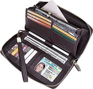 Women RFID Leather Wristlet Wallets Zip Around Phone Checkbook Card Big Clutch Large Ladies Travel Purse