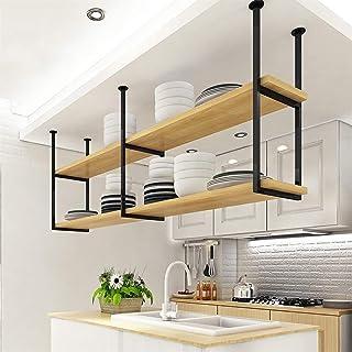 WYFZT Support à casseroles Cuisine Casier à vin Montage au Plafond Suspendue étagère Etagères Murales Flottantes Rayonnage...