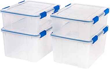 IRIS USA WSB-S/SD 26.5 44 Quart WEATHERTIGHT Multi-Purpose Storage Box Combo, Quart Quart, Clear with Blue Buckles, 4 Pack