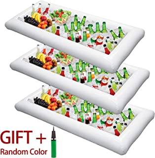 Inflatable Serving Bar Salad Ice Tray Food Drink Containers - BBQ Picnic Pool Party Supplies Buffet Luau Cooler,with a drain plug
