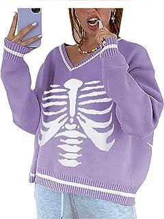 Suéter de punto para mujer Argyle Preppy Y2K estilo suelto de punto con cuello en V con estampado de calavera, camiseta si...