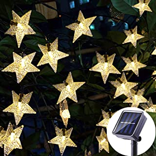 Viewpick Outdoor Solar Garden Star String Lights Solar Powered Twinkling Fairy Lights, 30ft 50 LED Christmas String Lights for Backyard, Patio, Gate, Tree, Birthday Party, Summer Decoration,Warm White