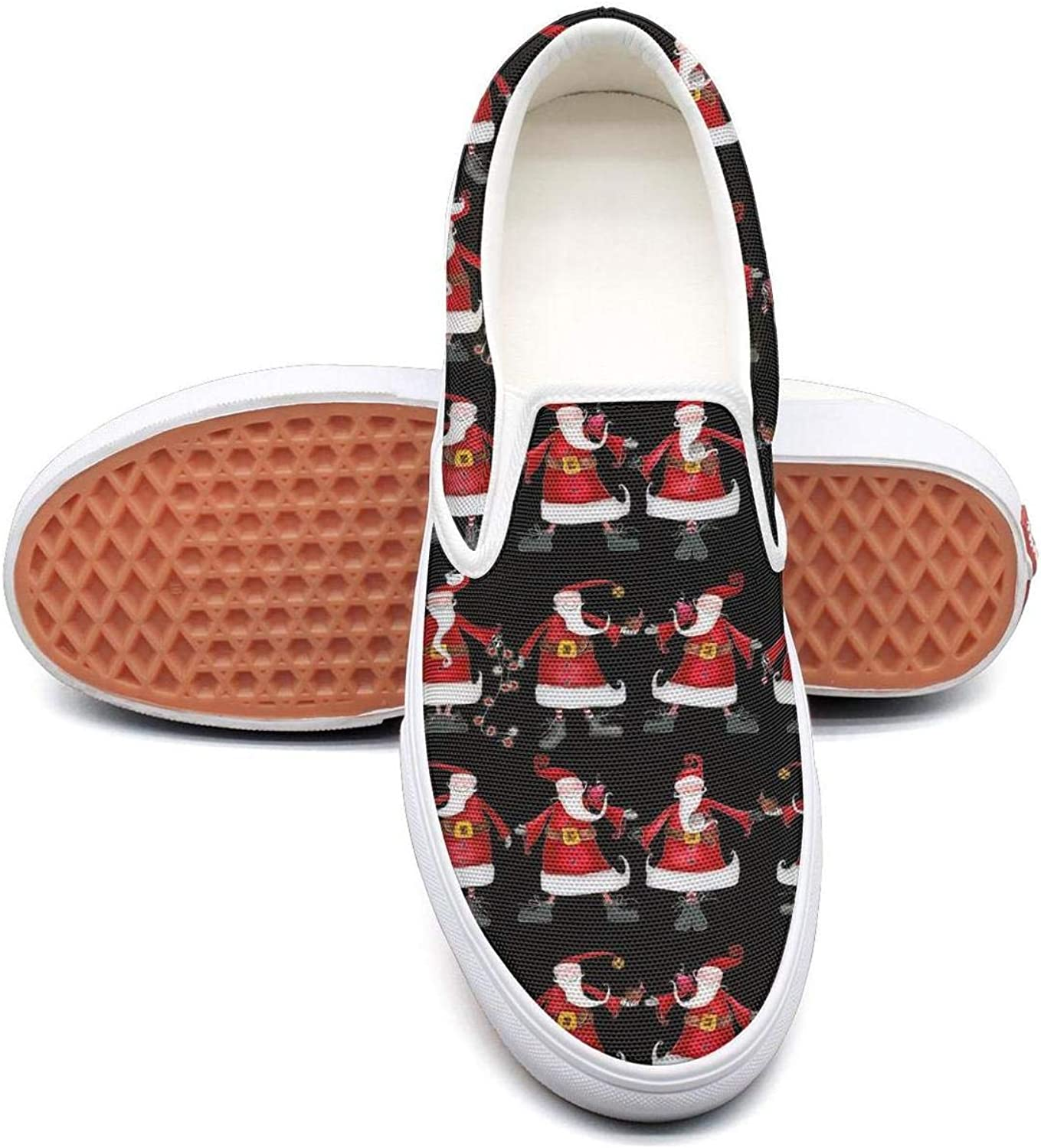 Feenfling Christmas Santa Dance Womens Plain Slip on Low Top Canvas Tennis shoes