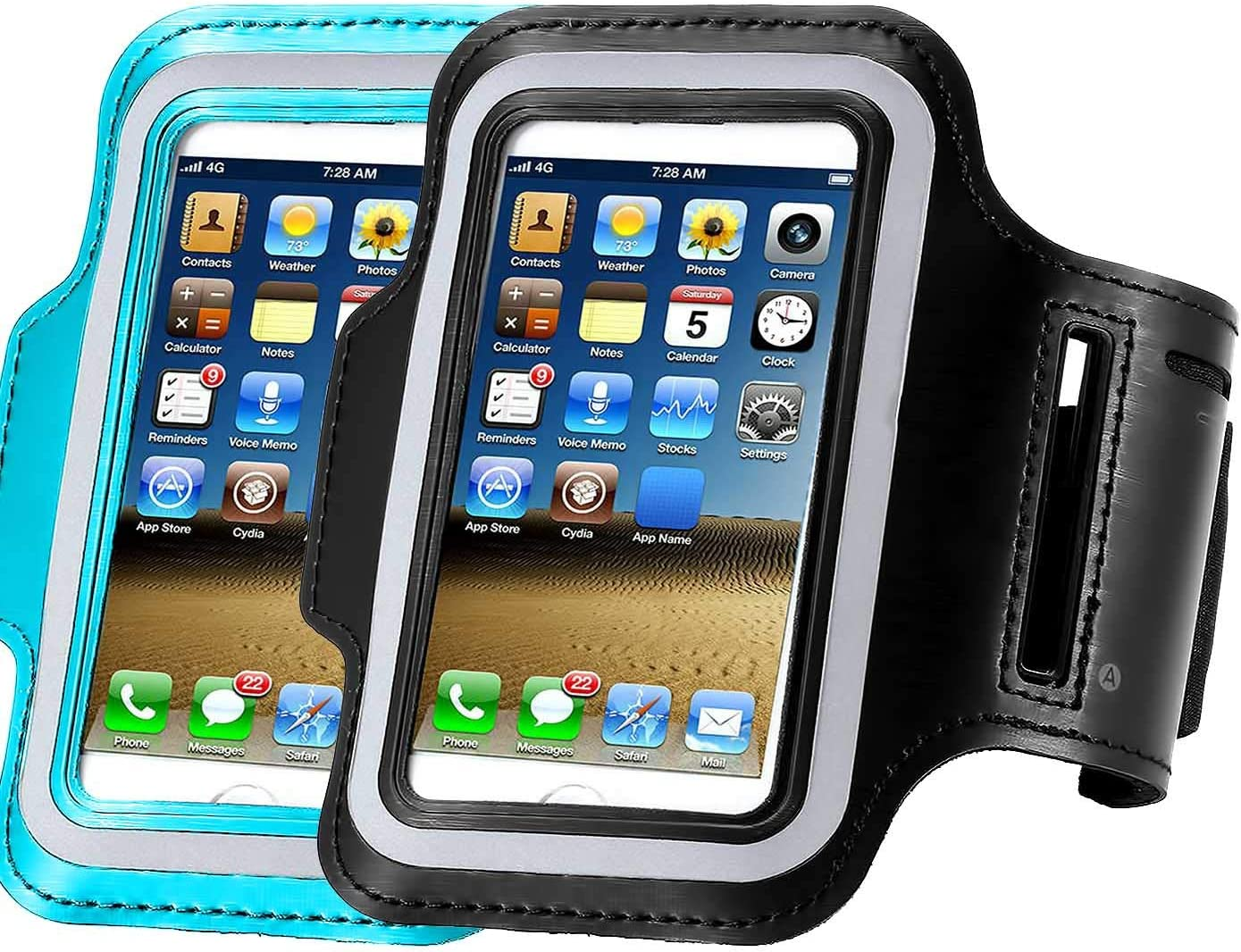 [2Pack] Water Resistant Cell Phone Armband: CaseHQ 5.2 Inch Case for iPhone X,8,7,6,6S,SE,5,5C,5S,Galaxy S5, Google Pixel- Adjustable Reflective Running Workout Gym Band,Key Holder-Black+Blue
