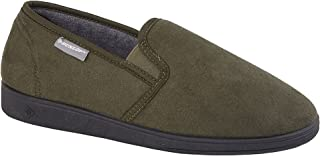 Dunlop Mens Jethro Twin Gusset Synthetic Suede Slip On Slippers Olive Green