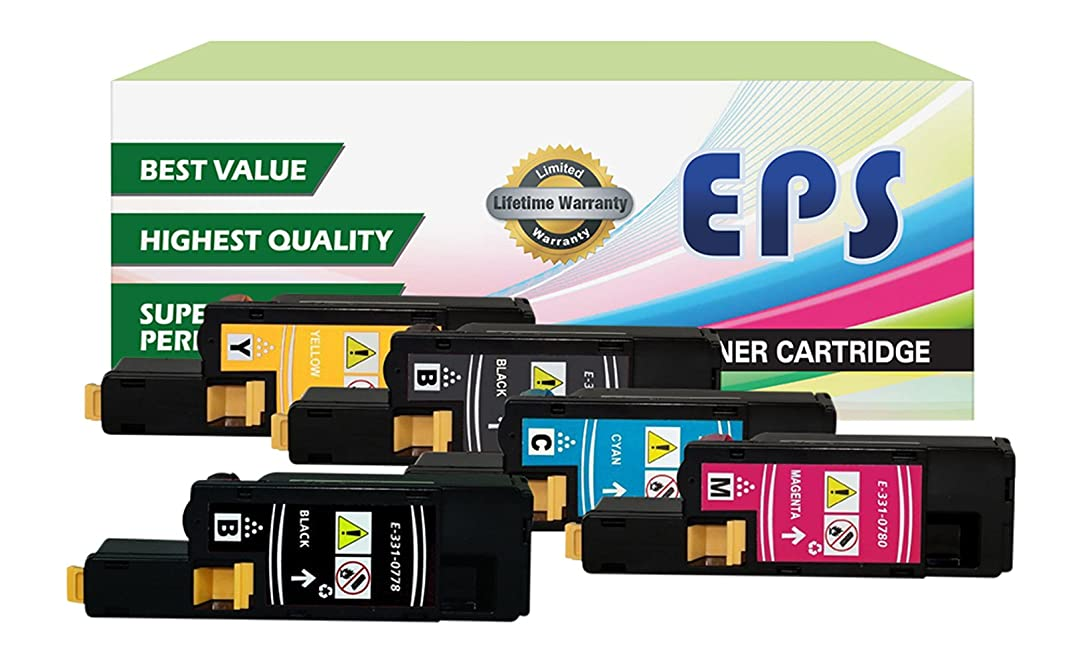 5PK EPS Replacement High Yield Toner Set for DELL E525W (2 Black, 1 Cyan, 1 Yellow, 1 Magenta)