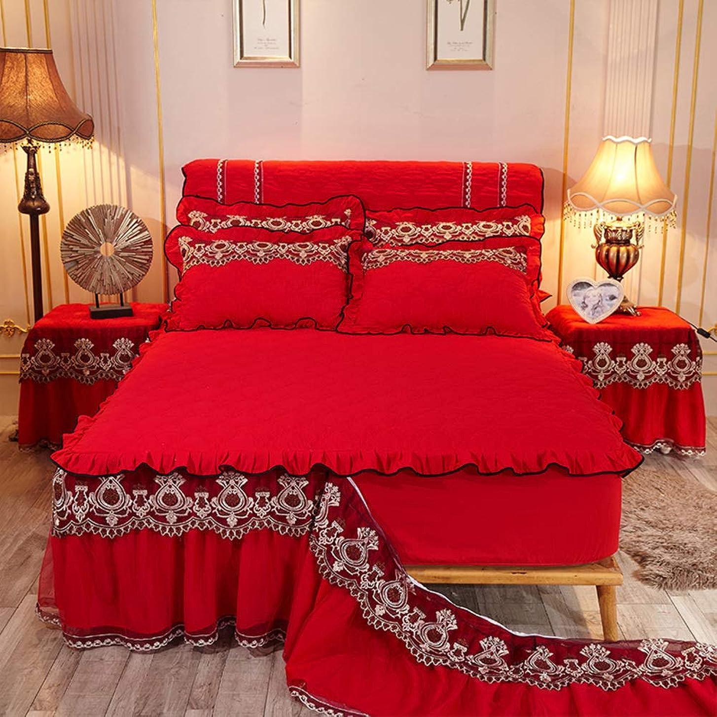 広大な夜間衣服欧州 着脱式 ラップ ベッドスカート, キルト レース トリミング 弾性 ベッドカバー 厚い キャタピラー エンボス加工 ベッド-f 180x200cm