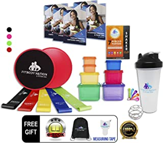 80 Day Equipment-Resistance Bands(5), Core Sliders Fitness Discs(2) with 7pc 21 Day Portion Control containers, Protein Shaker Bottle & Weight Loss E-Book, Online Workout Video, Body Tape, Carry Bag