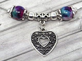 Collana di perle di giada per donna tinta di viola, blu e bianco con pendente in filigrana a forma di cuore