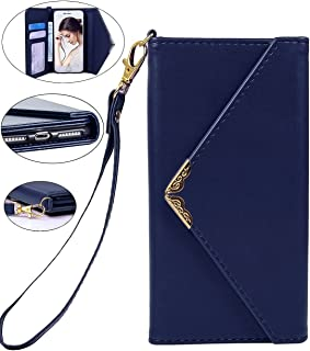 Crosspace iPhone 8 Plus Case, iPhone 7 Plus Wallet Case, Envelope Flip Handbag Shell Women Wallet PU Leather Slim Holster Magnetic Folio Cover with Card Holder Wrist Strap for iPhone 8 Plus -Blue