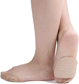 Flammi 6 Pairs Women's Sheer Toe Cover with Padding Toe Topper Liner Socks Non-Skid Bottom
