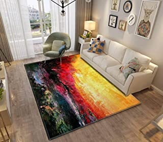 Area Rug and Carpet for Home Living Room, sunset oil painting landscapes and pictures Large Anti Slip Contemporary Rug for...