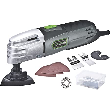 Genesis GMT15A 1.5 Amp Multi-Purpose Oscillating Tool and 19-Piece Universal Hook-And-Loop Accessory Kit with Storage Box