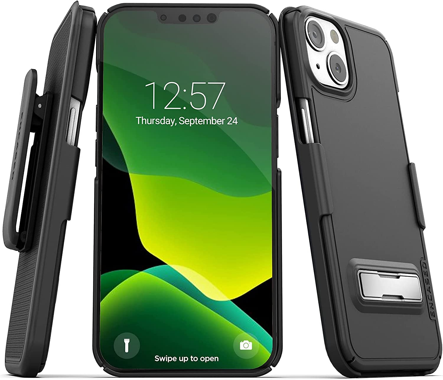 Encased Slimline Designed for iPhone 13 Belt Clip Case with Kickstand (2021) Ultra Thin Cover with Holster (Black)