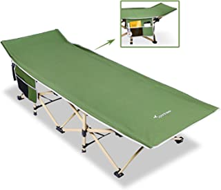 Sportneer Camping Cot, 2 Side Large Pockets Portable Folding Camp Bed Cots with Carry Bag, Max Load 450 LBS, for Camping, BBQ, Hiking, Backpacking, Beach, Office, for Xmas Gifts