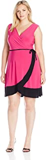 Women's Plus-Size Sleeveless Surplice Bodice Tulip Wrap Skirt Short Dress