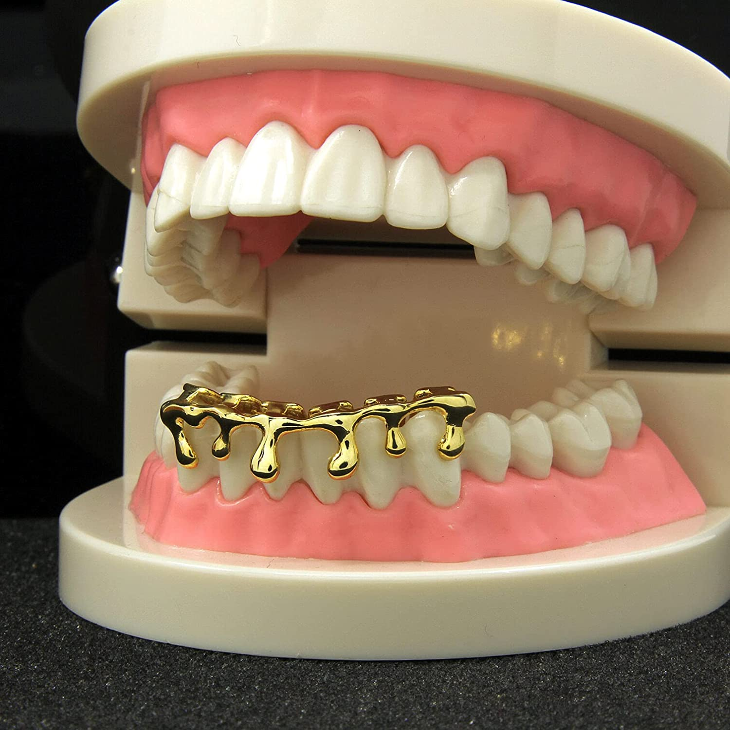 BESTWSTORE Custom Fit 14k Gold Plated Hip Hop Teeth Drip Grillz Caps Lower Bottom Grill One Size Fits MOST Adult Teeth