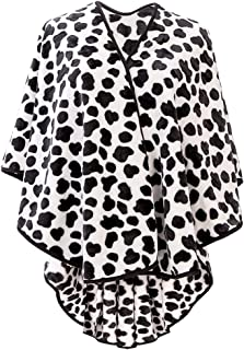 Cow Print Women's Cardigan Poncho Shawl Wrap Winter Warm Soft Open Front Cape