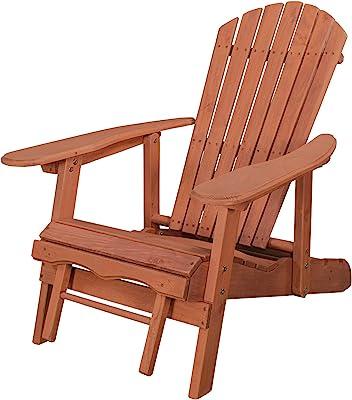 Leisure Season AC7105-M Reclining Pull-Out Ottoman Adirondack-Chairs, Medium Brown