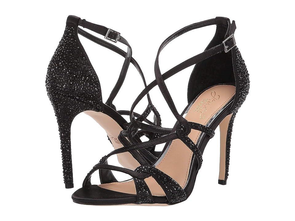 Jewel Badgley Mischka Gweny (Black Satin) High Heels