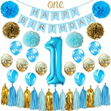 HankRobot First Birthday Decorations for Boys(39 Pack) 1st Baby Boy# One Birthday Balloons Happy Birthday Banner