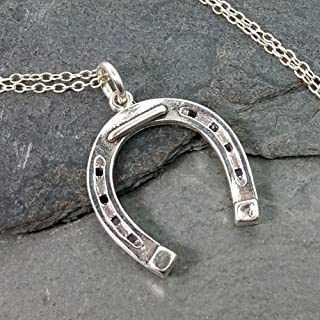 Horseshoe Charm Necklace - 925 Sterling Silver, 18