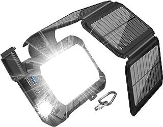 【2020最新版&キャンプライト付き】ソーラーチャージャー モバイルバッテリー 26800mAh 大容量 ソーラーパネル充電器 ポータブルパワーバンク PD 18W&QC 3.0超急速充電 3*出力ポート 4枚ソーラーパネル SOS発信 コンパ...