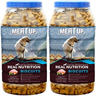 Meat Up Mutton Flavour , Real Chicken Biscuit, Dog Treats -500g Jar ( Buy 1 Get 1 Free)