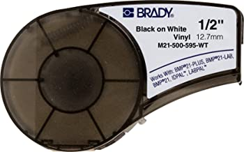 "Brady High Adhesion Vinyl Official Label Tape (M21-500-595-WT) - Black on White Vinyl Film - Designed for BMP21-PLUS, IDPAL, and LABPAL Label Printers - 21' Length, 0.5"" Width"