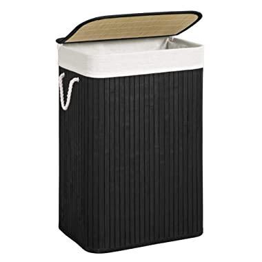 SONGMICS Bamboo Laundry Hamper, Laundry Basket with Removable Lid, Liners, 19 Gal (72L), Easy Assembly, for Bedroom, Laundry Hamper, Black ULCB11BK
