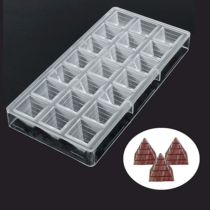 Jeteven Chocolate Mold Jelly And Candy Mold Non Stick 3D Pyramid Thickened PC Polycarbonate Chocolate Mould 21 Cavities